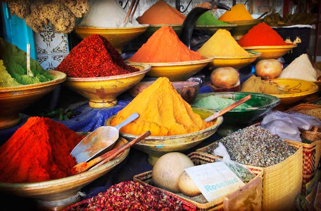 Visually appealing food market in Morocco