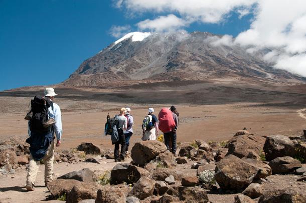 Hikers heading to Mt. Kilimanjaro, the highest peak in Africa