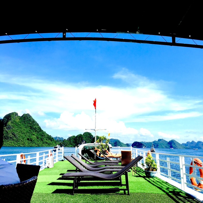 A view from atop Halong Bay cruise ship