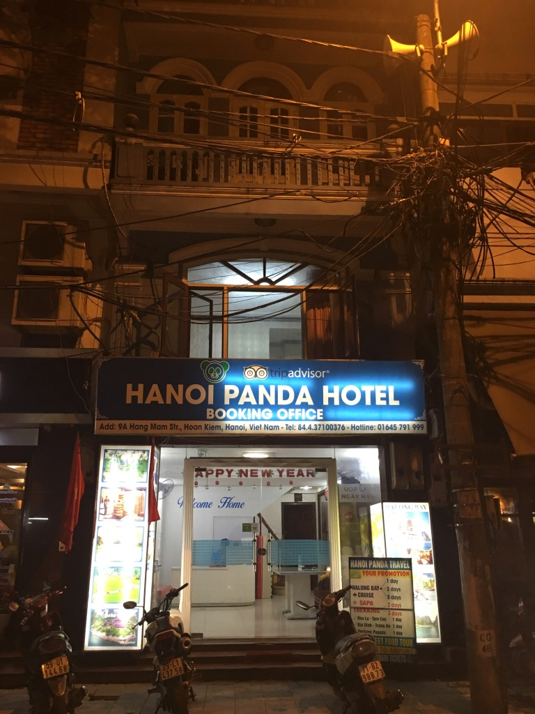 Hanoi Panda Hotel at night