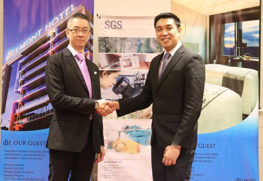 Photo Caption: General Manager of The Belmont Hotel Manila warmly welcoming John Reily Baluyot, SGS Product Manager for Travel and Hospitality, Southeast Asia and the Pacific to his hotel.