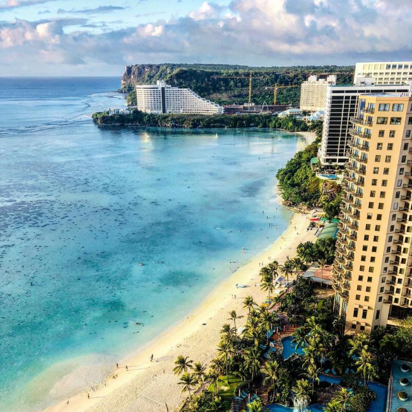 The view of Guam's main beach from a hotel taken and shared by @tobu on Instagram